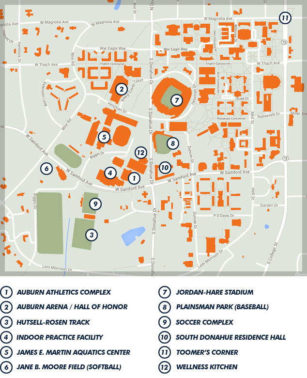 Maps Directions Auburn University Athletics